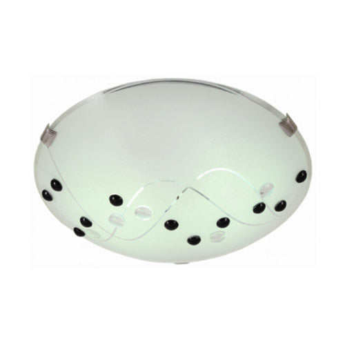 Bright Star Metal Base with Black Cherry Patterned Frosted Glass and Crhome Clips Small