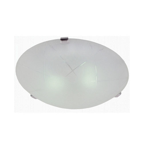 Bright Star Lighting Metal Base With Thatched Straw Patterened Frosted Glass And Chrome Clips 300mm