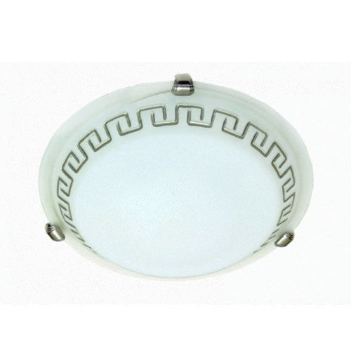 Bright Star Metal Base with Silver Patterned Alabaster Glass and Silver Clips Ceiling Light 300mm