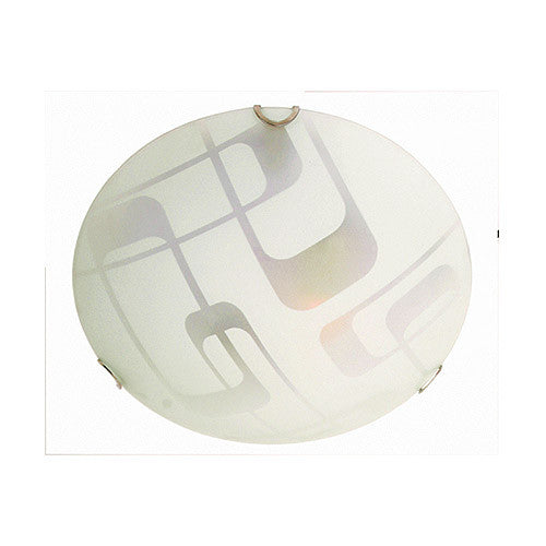 Bright Star Lighting Frosted Rettangolare Curvo Patterned Glass With Polished Chrome Clips Ceiling Light 250mm