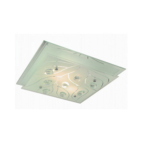 Bright Star Polished Chrome with Frosted Glass and Crystals Square Ceiling Light 320mm