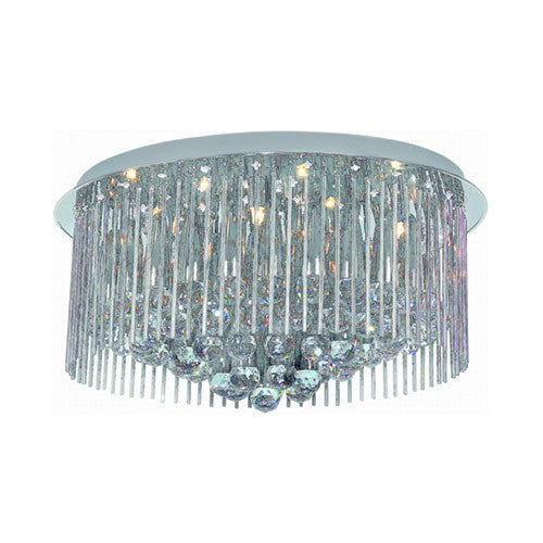 Bright Star Polished Chrome Flush Mount Ceiling Fitting with Glass and Crystals 600mm