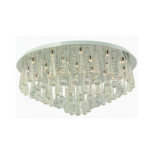 Bright Star Lighting Polished Chrome LED Ceiling Fitting With Suspended Crystals