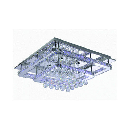 Bright Star Lighting Square Tiered Polished Chrome With Crystals