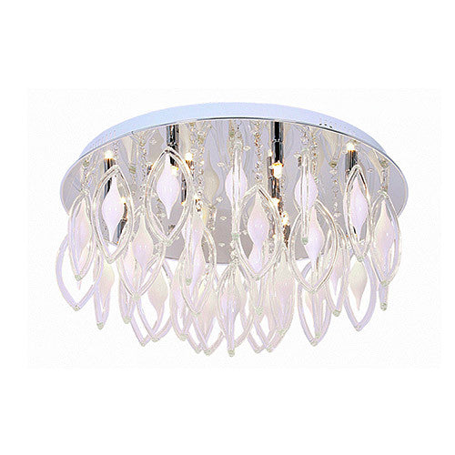 Bright Star Lighting Polished Chrome LED Ceiling Fitting With Hanging Crystals And Glass