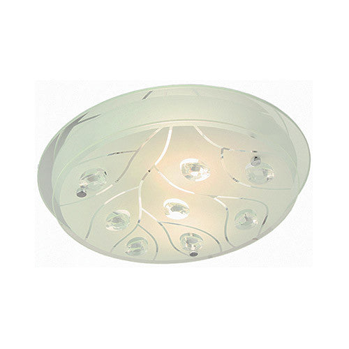 Bright Star Lighting Polished Chrome With Frosted Glass And Crystals Circular Ceiling Light 420mm