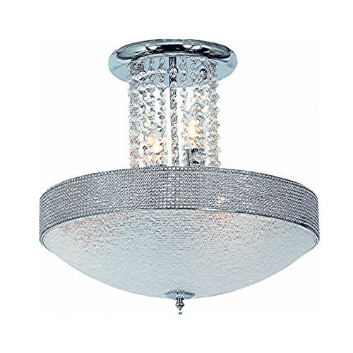 Bright Star Lighting Polished Chrome With Stippled Glass And Clear Acrylic Crystals