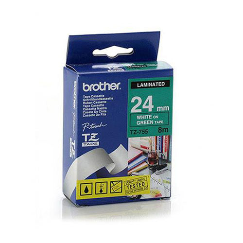 Brother TZe Laminated Tape White/Green 24mm x 8m