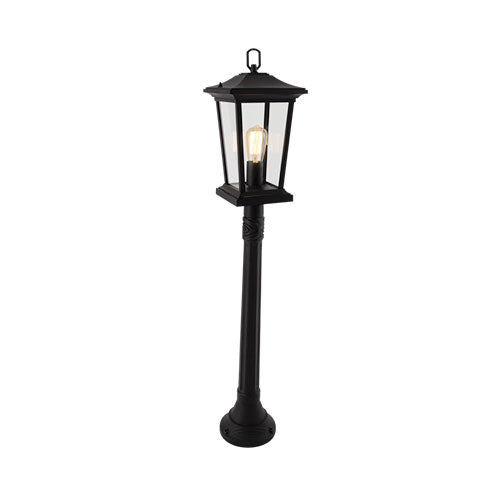 Aluminium Standing Lantern with Clear Glass - Black