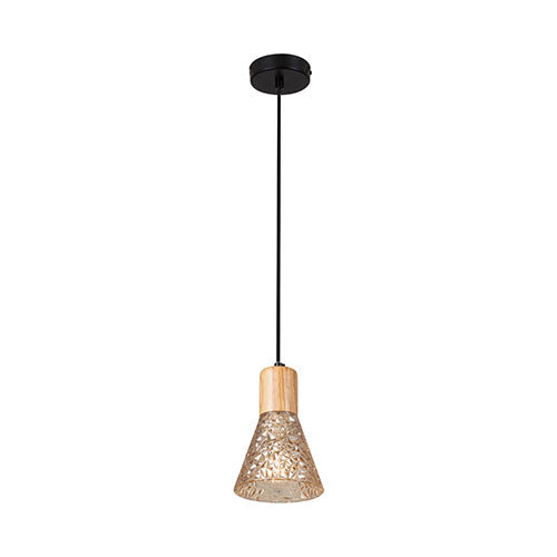 Eurolux Luca Pendant Black Wood Glass