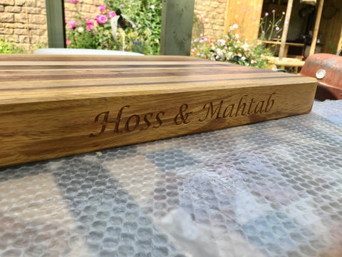name engraving on a chopping board