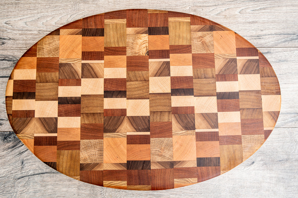 Multi -Wood End Grain Oval Board