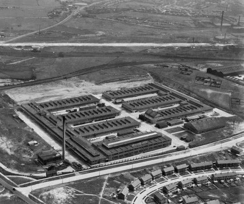 AN AERIAL VIEW OF MULLARD'S  LITTLE HARWOOD, BLACKBURN FACTORY IN 1935
