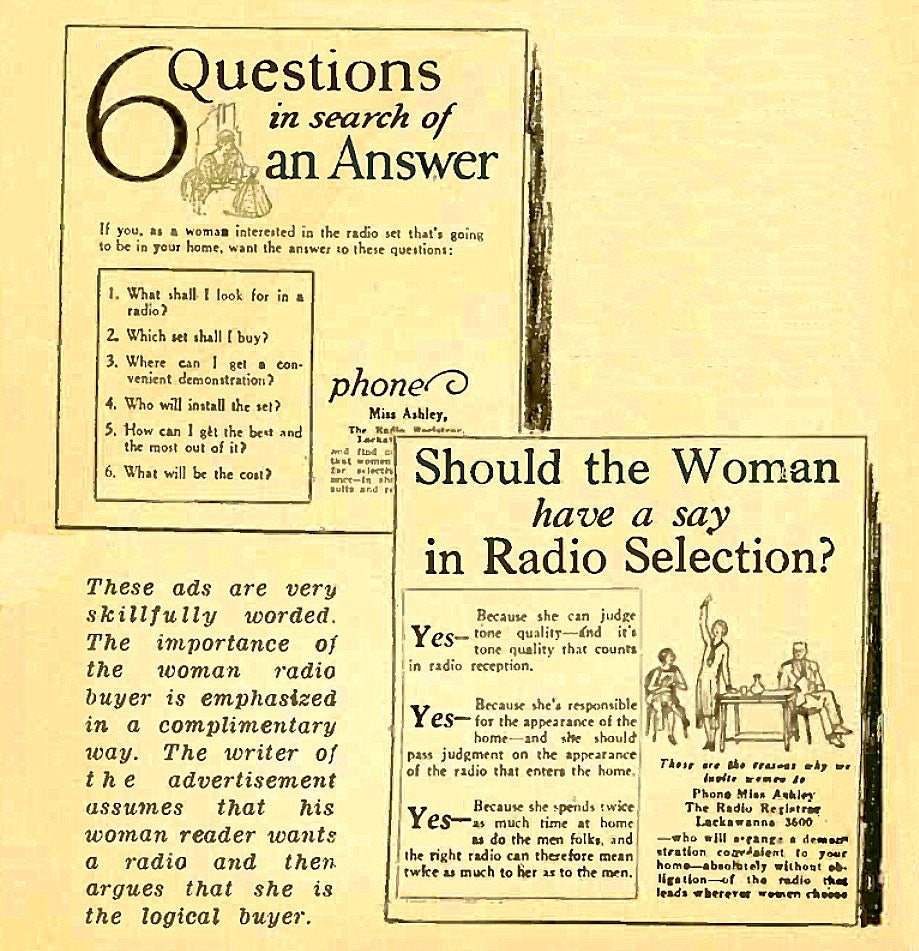 RADIOS - ALWAYS ASK THE WOMAN AND  FORGET ABOUT CHAUVINISM OR FEMINISM!