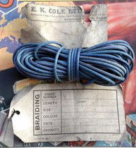 TELCOTHENE BRAIDED COMPONENT SLEEVING FROM 1938 - BLUE - MULLARD MAGIC - 1