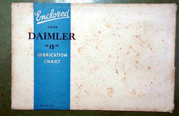 WAKEFIELD CASTROL, CAR SERVICE & LUBRICATION CHARTS, FROM 1935, DAIMLER 15