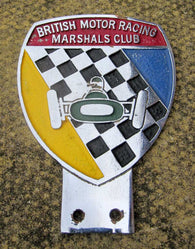 BRITISH MOTOR RACING MARSHALS CLUB CHROME & ENAMEL CAR BADGE 1950S VINTAGE