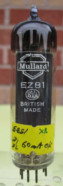 EZ81 MULLARD OLD SHIELD WHITE PRINT BRITISH MADE