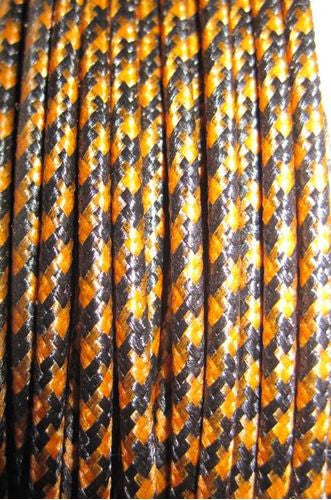 SILK BRAID COVERED VINTAGE 20 AWG HOOK UP WIRE ORANGE WITH BLACK TRACER STRIPE - MULLARD MAGIC