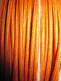 SILK BRAID COVERED VINTAGE 20 AWG HOOK UP WIRE ORANGE WITH ORANGE TRACER STRIPE - MULLARD MAGIC