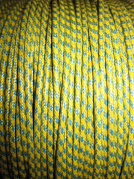 SILK BRAID COVERED VINTAGE 20 AWG HOOK UP WIRE YELLOW WITH BLUE TRACER STRIPE - MULLARD MAGIC