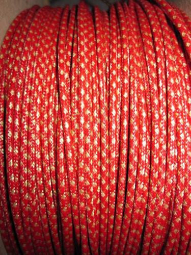 SILK BRAID COVERED VINTAGE 20 AWG HOOK UP WIRE RED WITH WHITE TRACER STRIPE - MULLARD MAGIC