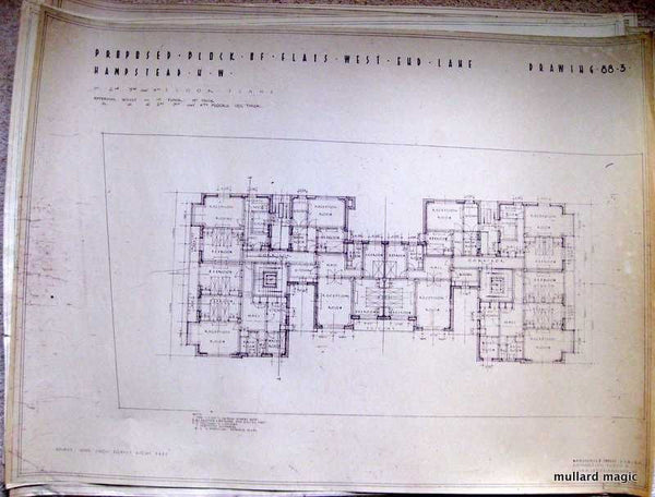BLUEPRINT OF BLOCKS OF FLATS WEST END LANE HAMPSTEAD FROM 1935
