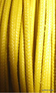 SILK BRAID COVERED VINTAGE 20 AWG HOOK UP WIRE YELLOW SOLID STRIPE - MULLARD MAGIC