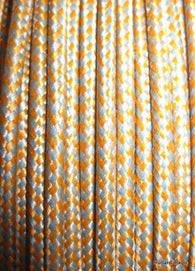 SILK BRAID COVERED VINTAGE 20 AWG HOOK UP WIRE ORANGE WITH BLUE TRACER STRIPE - MULLARD MAGIC