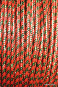 SILK BRAID COVERED VINTAGE 20 AWG HOOK UP WIRE RED WITH GREEN TRACER STRIP - MULLARD MAGIC