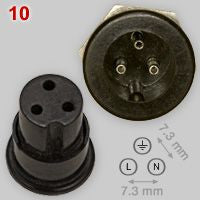 7.3mm DIA, MINIATURE BULGIN 3 PIN SOCKET P429 AS USED ON QUAD 303 33 AMPLIFIERS