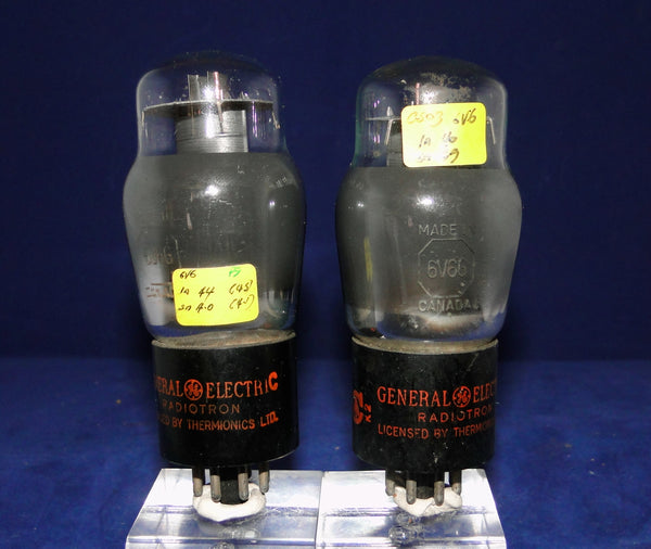 6V6G,  GENERAL ELECTRIC RADIOTRON, CANADA, MATCHED PAIR, FACTORY CODE, J2/K2, LATE 1942 DATE CODES