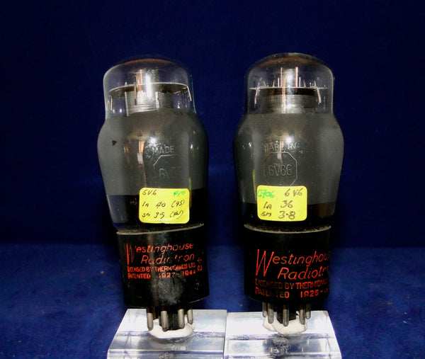 6V6G, WESTINGHOUSE,  RADIOTRON, CANADA, MATCHED PAIR,  1943 PRODUCTION