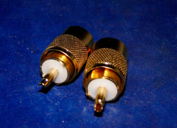 UHF STRAIGHT PLUG, PL259,  GOLD PLATED, NOS