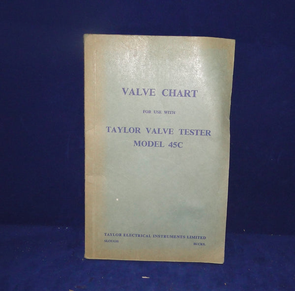 VALVE CHART, FOR USE WITH, TAYLOR VALVE TESTER, MODEL 45A, 45B, 45C, 46A ,47A