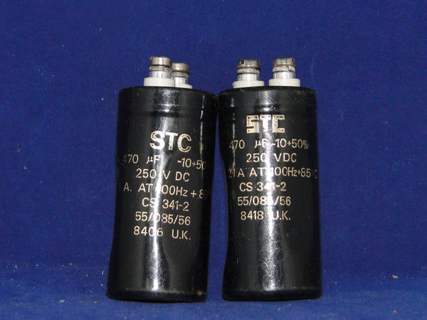 470uF 250V , RADIAL, ELECTROLYTIC CAPACITORS, STC, A PAIR