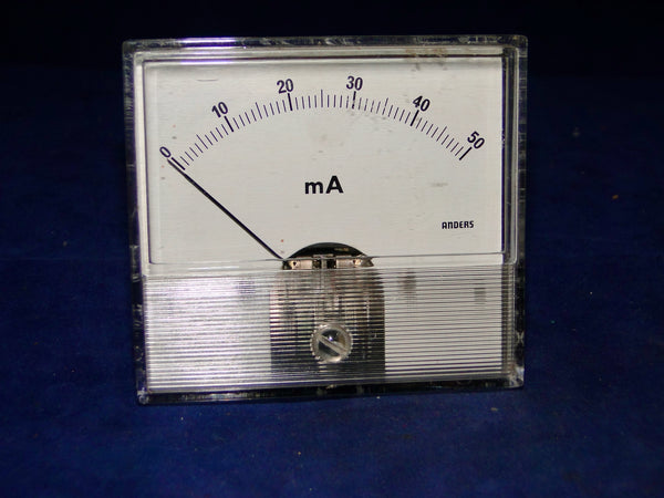 ANDERS, APPROX 85 X 77mm SIZE, 0 - 50mA DC, MOVING COIL, METER,
