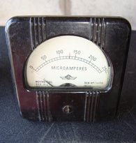 MOVING COIL METER AMPS HF 0 -250uA EX MIL - MULLARD MAGIC