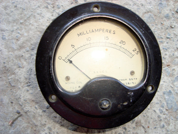 VINTAGE METER SCALED  0 -  25mA - MULLARD MAGIC