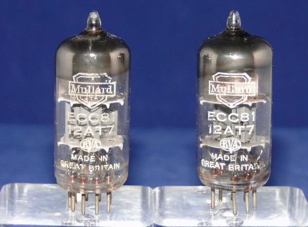 ECC81, MATCHED PAIR OF MULLARD , SAME FACTORY CODE, Tk3 B7G2, BLACKBURN  JULY 1957 MANUFACTURE