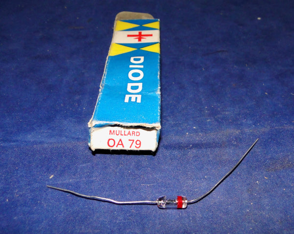 BOXED, GLASS, OA79, MULLARD, GERMANIUM DIODE, SPANISH PACKAGING 1960S