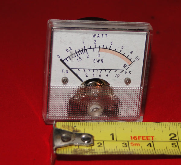 SWR METER, APPROX 50 X 50mm, EX EQUIPT, SLIGHT EDGE COVER DAMAGE