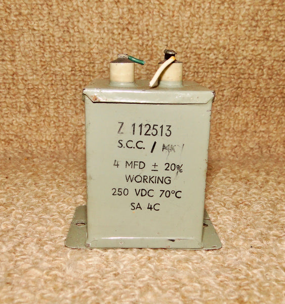 MILITARY (ARMY) DUBILIER PIO PAPER BLOCK CAPACITOR  4uF @ 250V Z112513