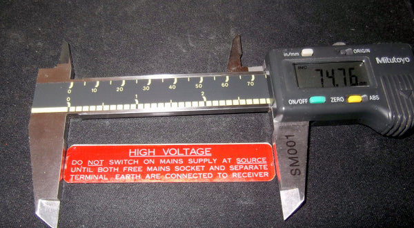 HIGH VOLTAGE WARNING PLATE, RACAL COMMUNICATIONS, RA17, RA117, RA1217, RA1218