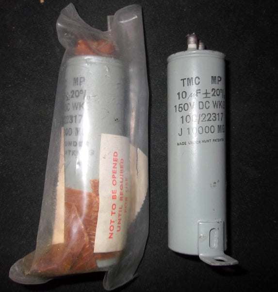 PAPER IN OIL, PIO CAPACITORS, BY TMC  10uF  @ 150V WKG, NOS,