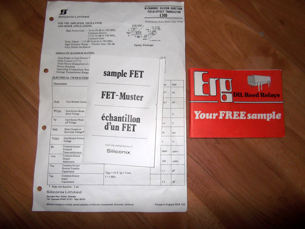 PAIR OF 1970S MANUFACTURERS FREE SAMPLE PACKS FOR FET & DIL RELAY