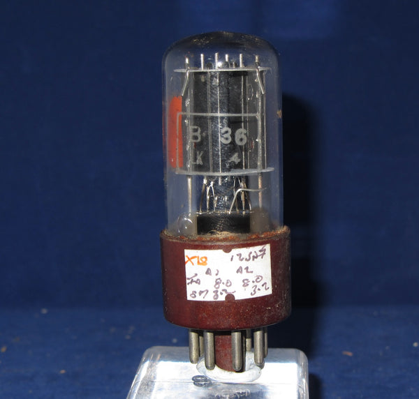 B36, MARCONI, 12SN7GT, CLEAR GLASS, FAT BROWN MICANOL BASE, LARGE DECAL, OCTOBER 1955 MANUFACTURE,  12SN7