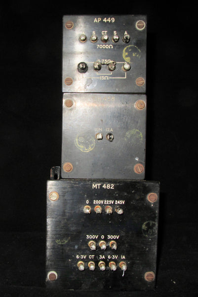 SET OF THREE, HADDON TRANSFORMERS FOR AN OSRAM 912, EL84 AMPLIFIER, COMPRISING, MT482, MAINS,  CH458, CHOKE, AP449, OUTPUT TRANSFORMER,