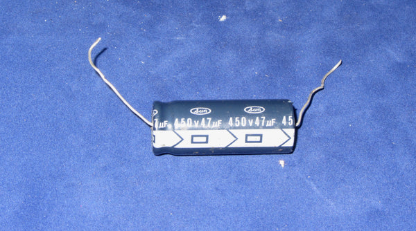 1x Sun 47uF @ 450V, axial, electrolytic capacitor