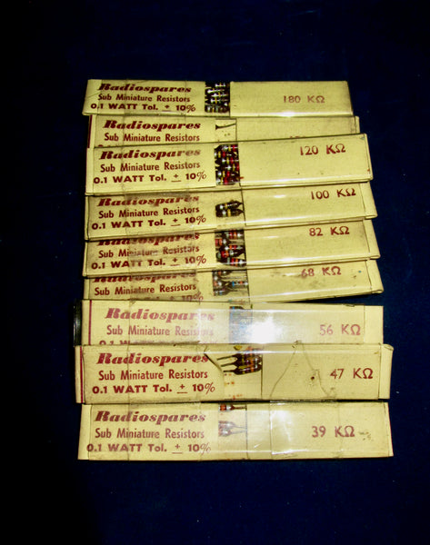 RS, RADIOSPARES, VINTAGE, 0.1W, SUBMINIATURE CARBON RESISTORS, VALUES 100K TO 500K, BOXED 1960S